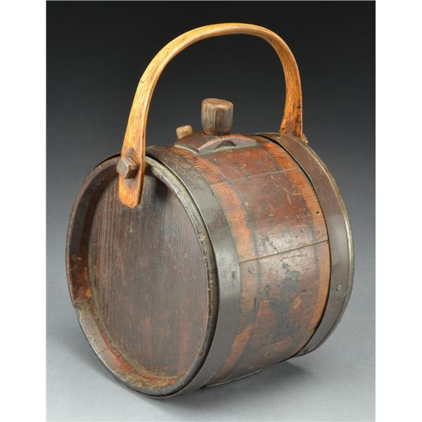 EARLY WOODEN BAIL HANDLE CANTEEN.