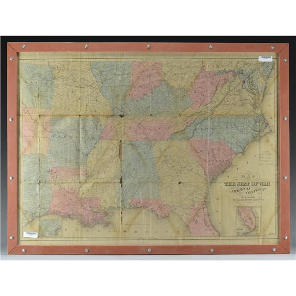 CIVIL WAR VINTAGE MAP OF THE SOUTHERN STATES.