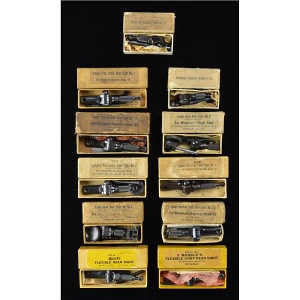 9 BOXED LYMAN COMBINATION TANG SIGHTS & 2 BOXED