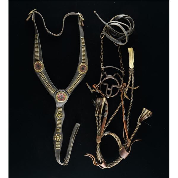EARLY WESTERN HORSE BRIDLE, BIT, REINS &