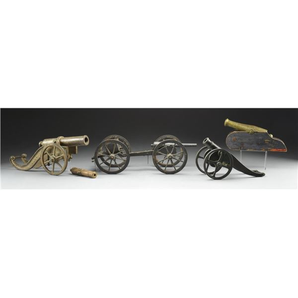 3 MODEL/SIGNAL CANNONS, 1 MINIATURE BRASS TUBE &