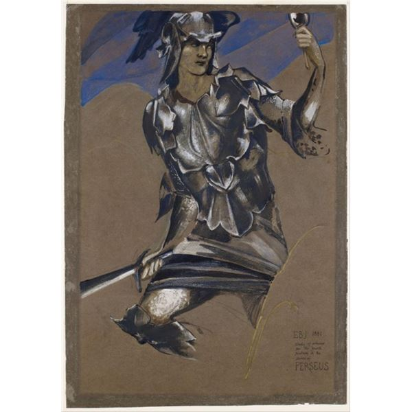 Edward Burne-Jones - Study of Perseus in Armour for The Finding of Medusa