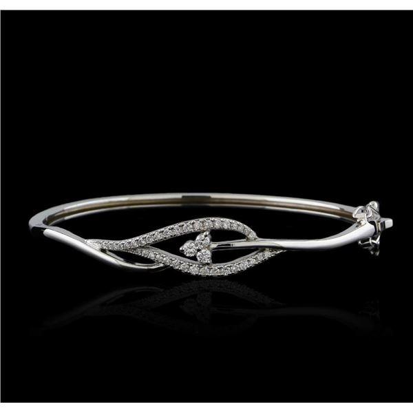 0.61 ctw Diamond Bangle Bracelet - 14KT White Gold