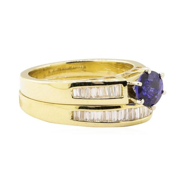 1.25 ctw Blue Sapphire And Diamond Ring And Band - 14KT Yellow Gold