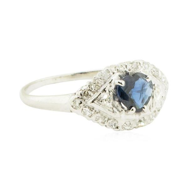 0.40 ctw Diamond and Sapphire Ring - 14KT White Gold