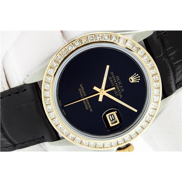 Rolex 36 Datejust Black Onyx 2.75 ctw Princess Diamond Leather Band Oyster Perpe