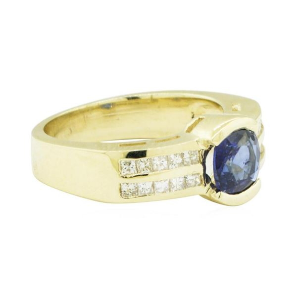 1.37 ctw Square Cushion Brilliant Blue Sapphire And Diamond Ring - 14KT Yellow G