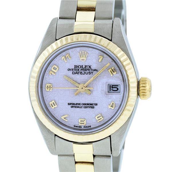 Rolex Ladies 2 Tone Yellow Gold & Stainless Steel Cream Jubilee Datejust Wristwa
