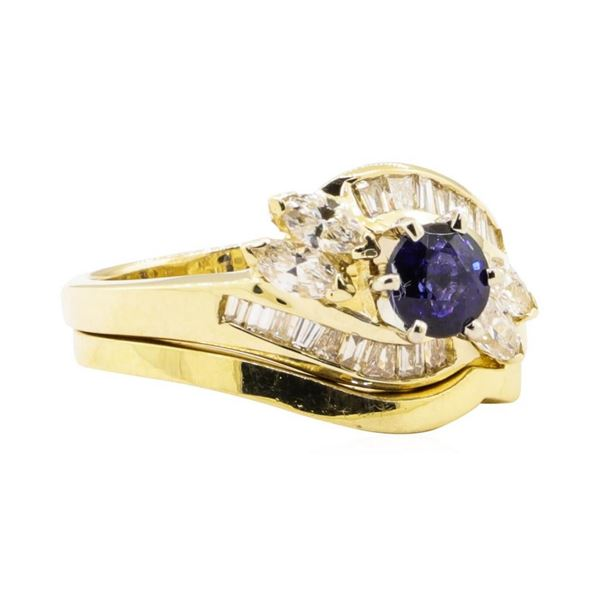 1.44 ctw Blue Sapphire And Diamond Ring And Band - 14KT Yellow Gold