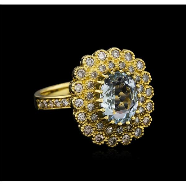 14KT Yellow Gold 2.27 ctw Aquamarine and Diamond Ring