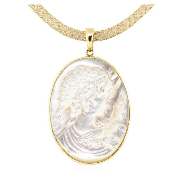 Mother of Pearl Cameo Pendant and Chain - 14KT Yellow Gold