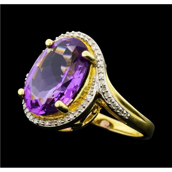 4.90 ctw Amethyst And Diamond Ring - 14KT Yellow Gold