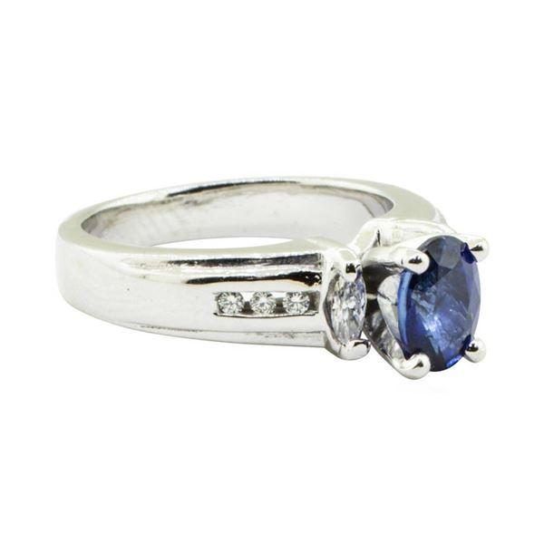 1.28 ctw Oval Brilliant Blue Sapphire And Diamond Ring - Platinum