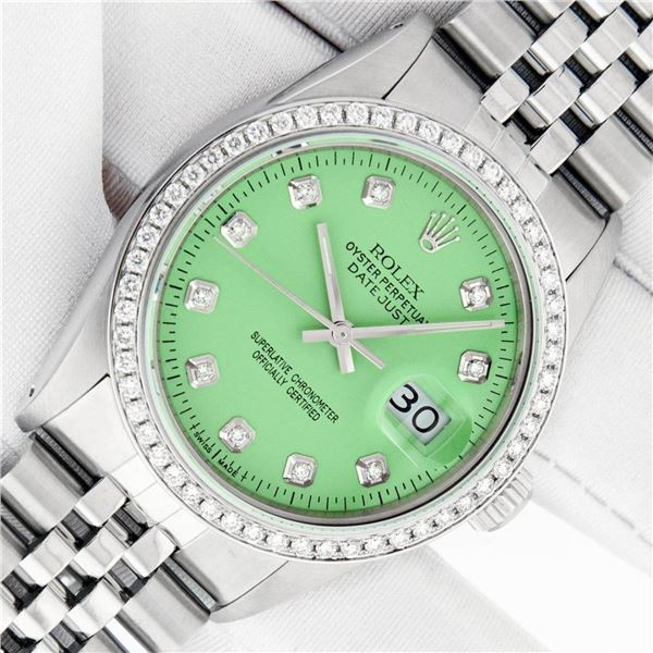 Rolex Mens Stainless Steel Green Diamond 36MM Oyster Perpetual Datejust