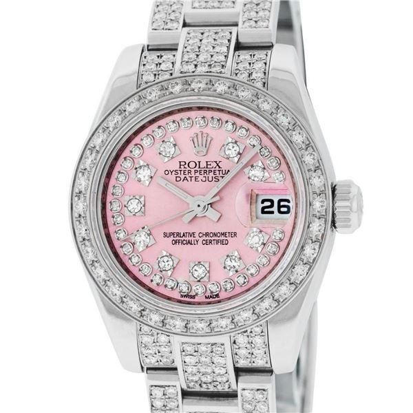 Rolex Ladies New Style Pink Iced 4 ctw Diamond Datejust Wristwatch With Rolex Bo