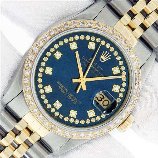 Rolex Mens 2 Tone Blue String VS Diamond Datejust Wristwatch Oyster Perpetual Wi