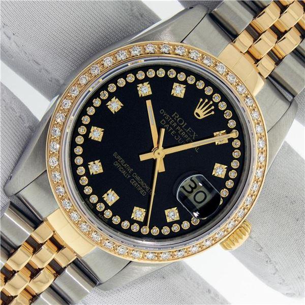 Rolex Mens 2 Tone Black String VS Diamond Oyster Perpetual Datejust Wristwatch