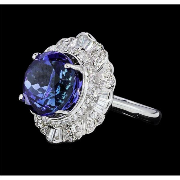 14.11 ctw Round Brilliant Tanzanite And Baguette Cut (Tapered) Diamond Ring - 18
