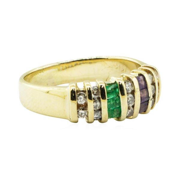 0.90 ctw Diamond, Amethyst, and Emerald Ring - 14KT Yellow Gold