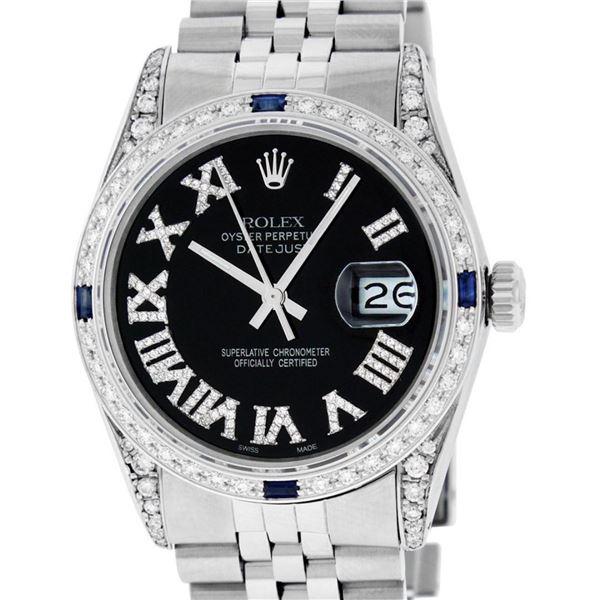 Rolex Mens Stainless Steel Black Roman Diamond Lugs & Sapphire Datejust Wristwat