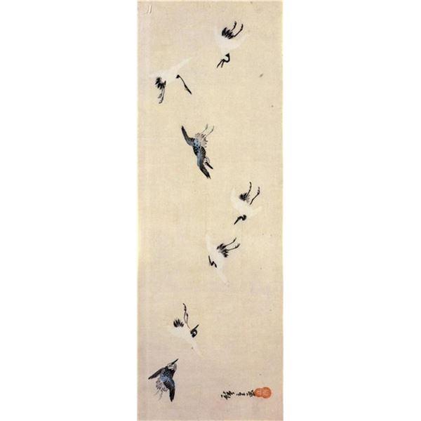 Hiroshige  Cranes Flying