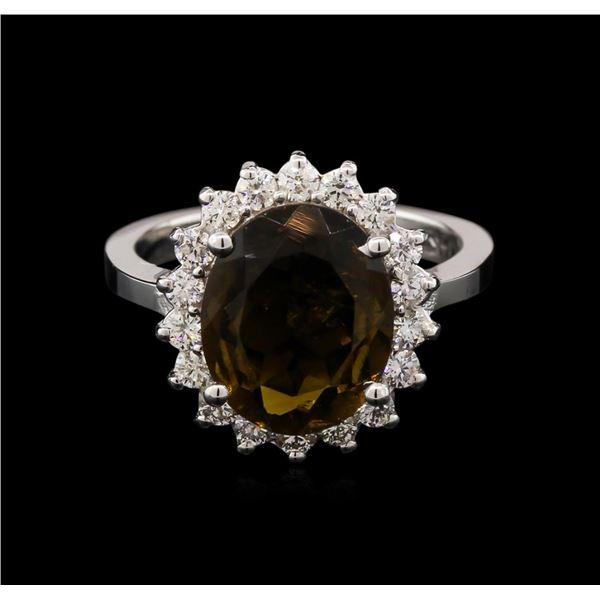 3.90 ctw Tourmaline and Diamond Ring - 14KT White Gold