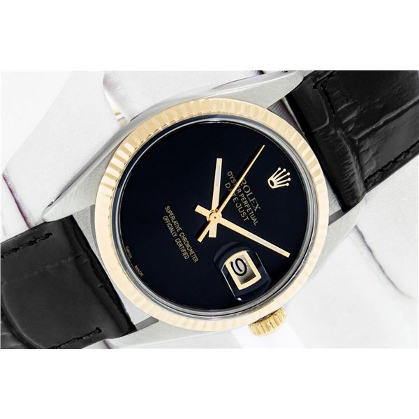 Rolex Datejust Mens 36 Black Onyx 18K/SS Oyster Perpetual Serviced Polished With