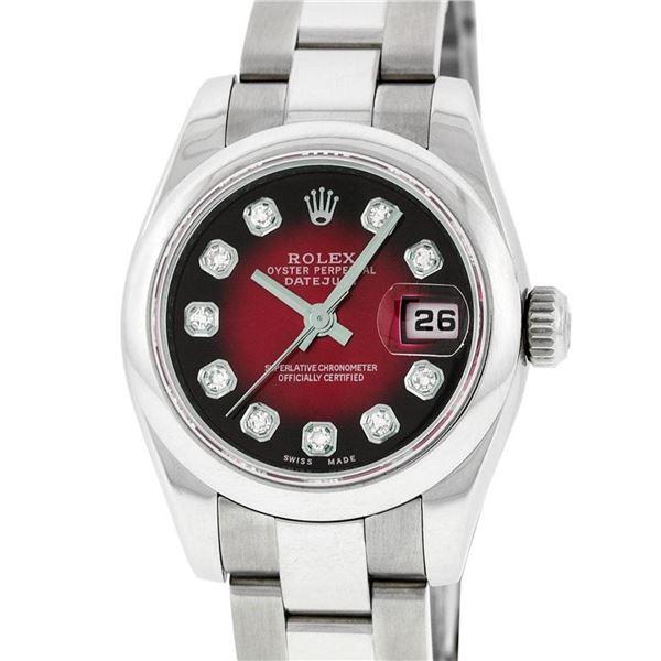 Rolex New Style Ladies Stainless Steel Red Vignette Diamond Quickset Datejust Wr