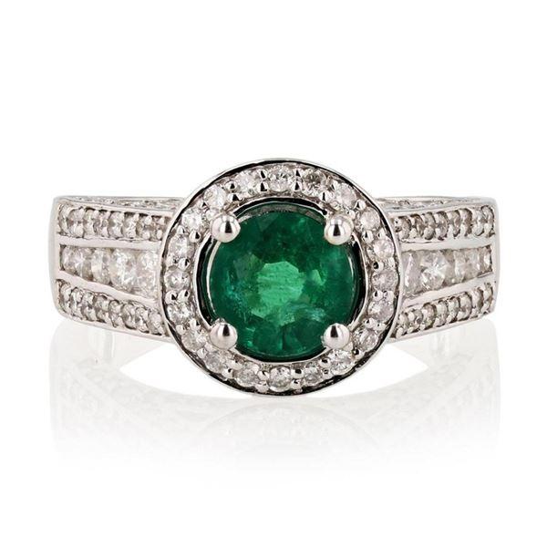 0.95 ctw Emerald and 1.13 ctw Diamond 14K White Gold Ring