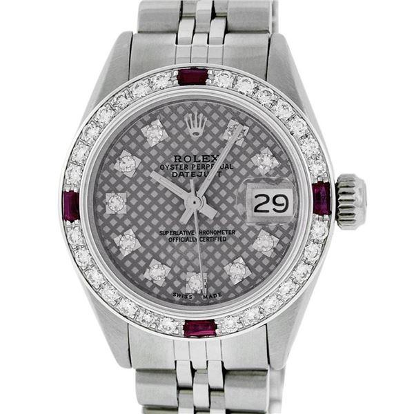 Rolex Ladies Stainless Steel Slate Grey Stamp Diamond & Ruby Datejust Wristwatch