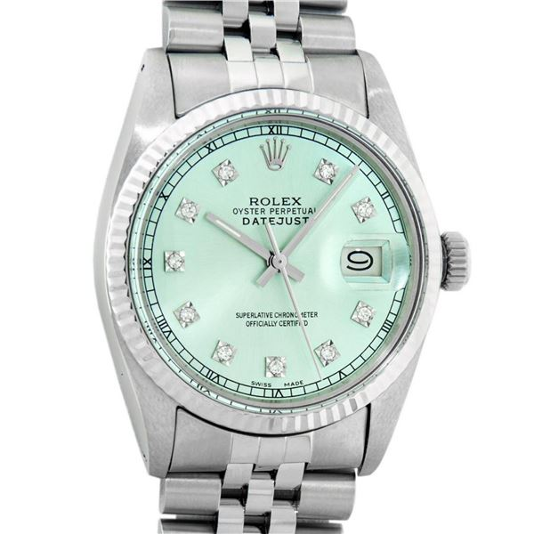 Rolex Mens Stainless Steel Ice Blue Diamond Oyster Perpetual 36MM Datejust Wrist