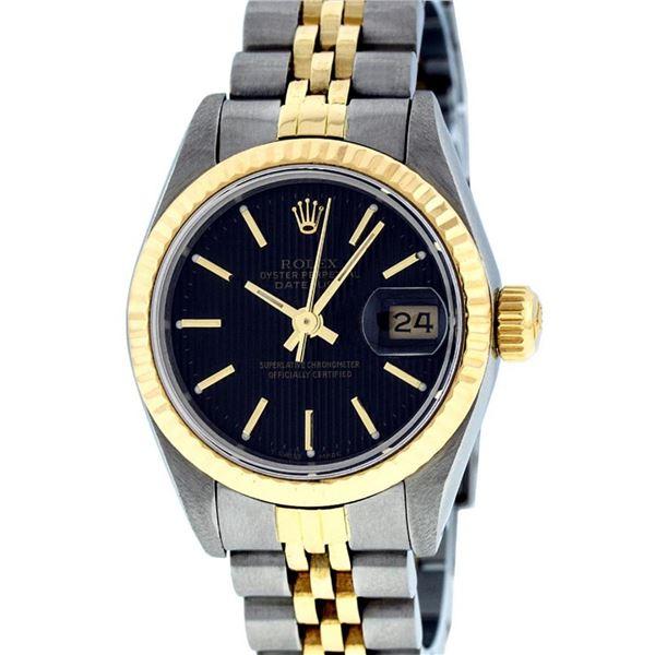 Rolex Ladies 2 Tone Black Tapestry Fluted Bezel Datejust Wristwatch