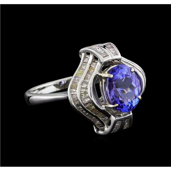 2.73 ctw Tanzanite and Diamond Ring - 18KT White Gold