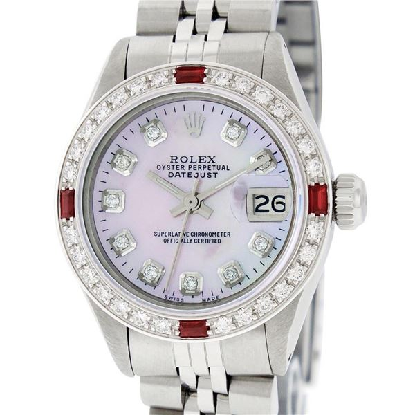 Rolex Ladies Stainless Steel Pink MOP Diamond & Ruby Oyster Perpetual Datejust W