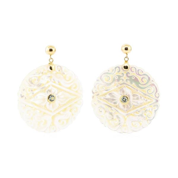 0.60 ctw Blue Topaz and Mother of Pearl Earrings - 14KT Yellow Gold