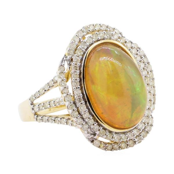 5.05 ctw Opal and Diamond Ring - 14KT Yellow Gold