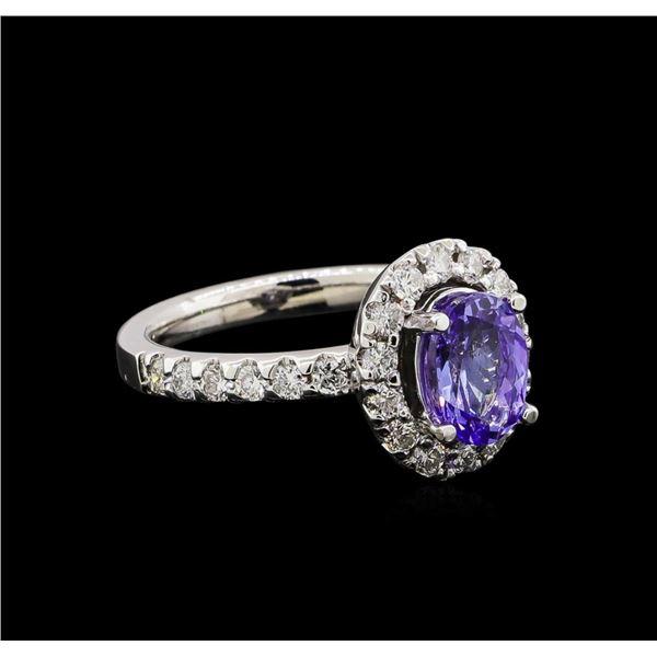 1.56 ctw Tanzanite and Diamond Ring - 14KT White Gold