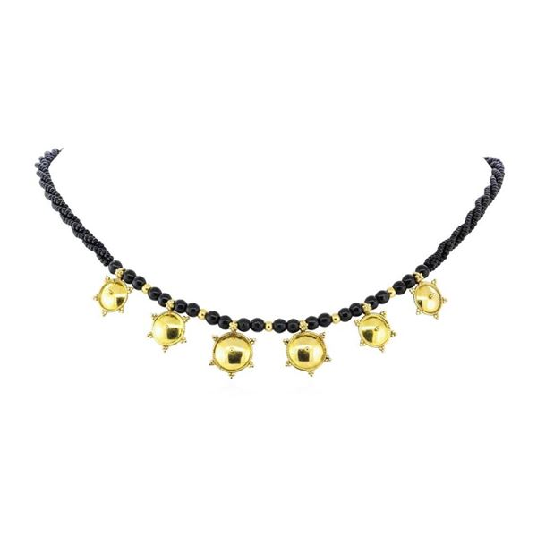 16 Inch Black Bead Station Necklace - 22KT Yellow Gold