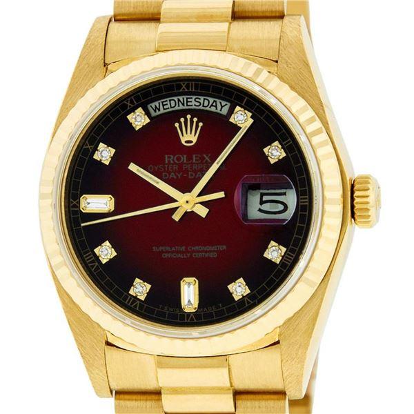 Rolex Mens 18K Yellow Gold Red Vignette Diamond Quickset President Wristwatch
