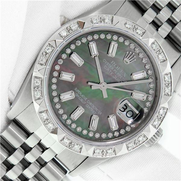 Rolex Mens Stainless Steel Black MOP Baguette Diamond 36MM Datejust Wristwatch W