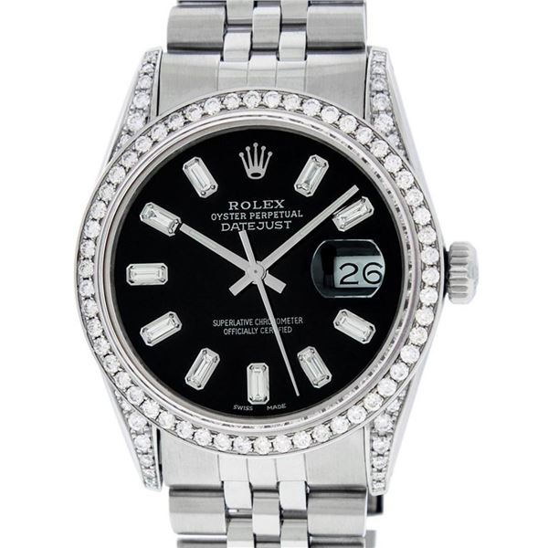 Rolex Mens Stainless Black Baguette Diamond Lugs Oyster Perpetual Datejust Wrist