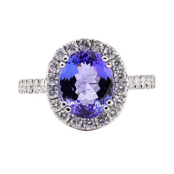 3.29 ctw Tanzanite and Diamond Ring - Platinum