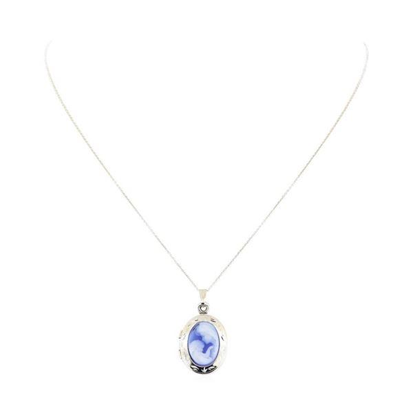 3.00 ctw Blue Lace Agate Pendant & Chain - 14KT White Gold