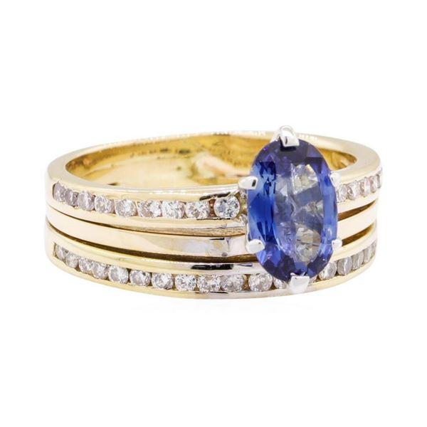 1.31 ctw Sapphire and Diamond Wedding Set - 14KT Yellow Gold