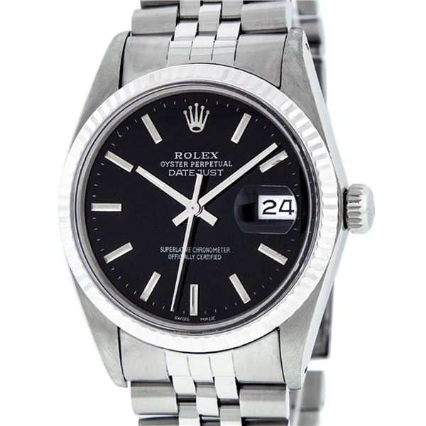Rolex Mens Stainless Steel Black Index 36mm Oyster Perpetual Datejust Wristwatch