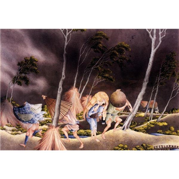Hokusai - Peasants Surprised by a Violent Storm