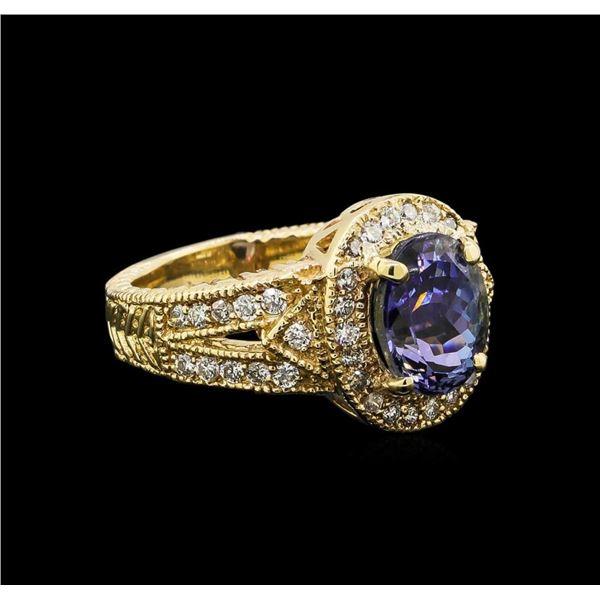 14KT Yellow Gold 2.70 ctw Tanzanite and Diamond Ring