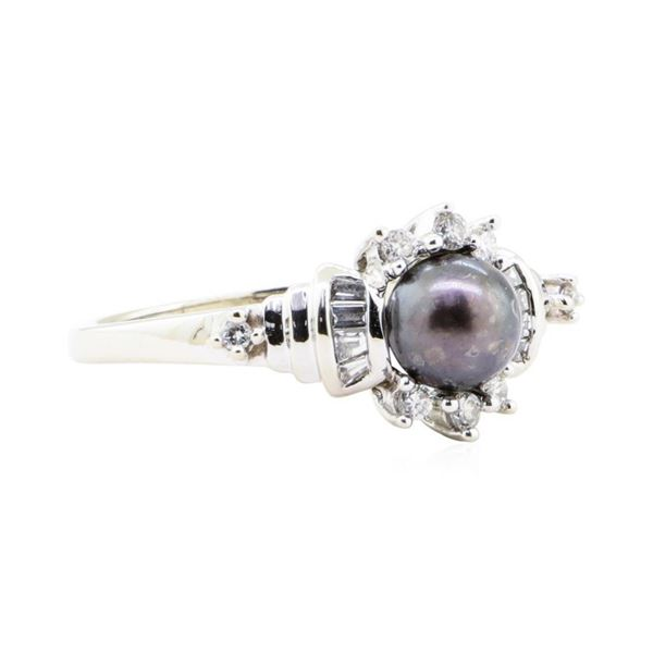 0.40 ctw Diamond and 7mm Dyed Black Pearl Ring - 14KT White Gold