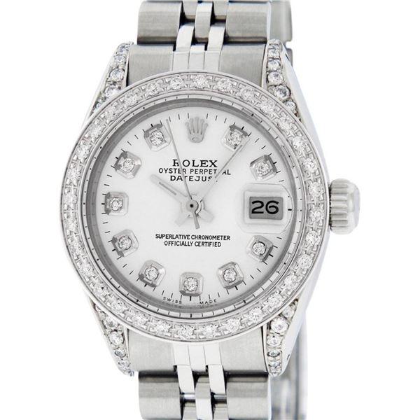 Rolex Ladies Stainless Steel White Diamond Lugs & Datejust Wristwatch 26MM