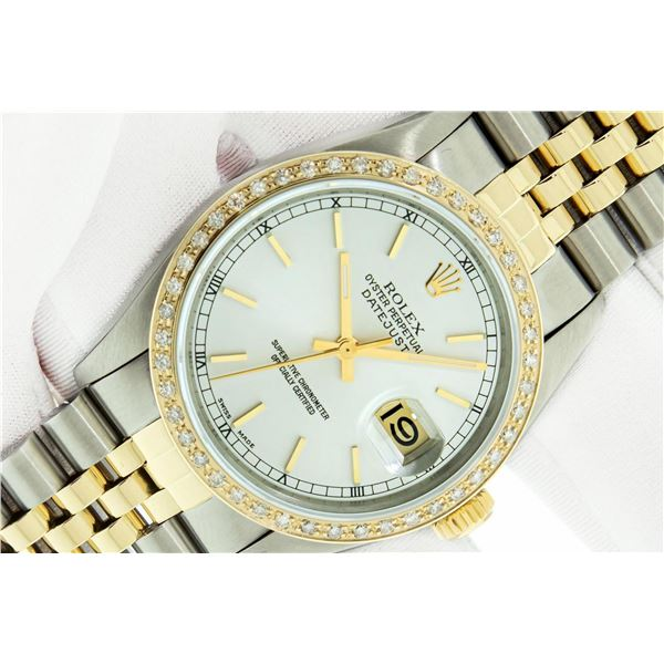 Rolex Mens 2T SS And Yellow Gold Silver Index 36MM Quickset Datejust Wristwatch